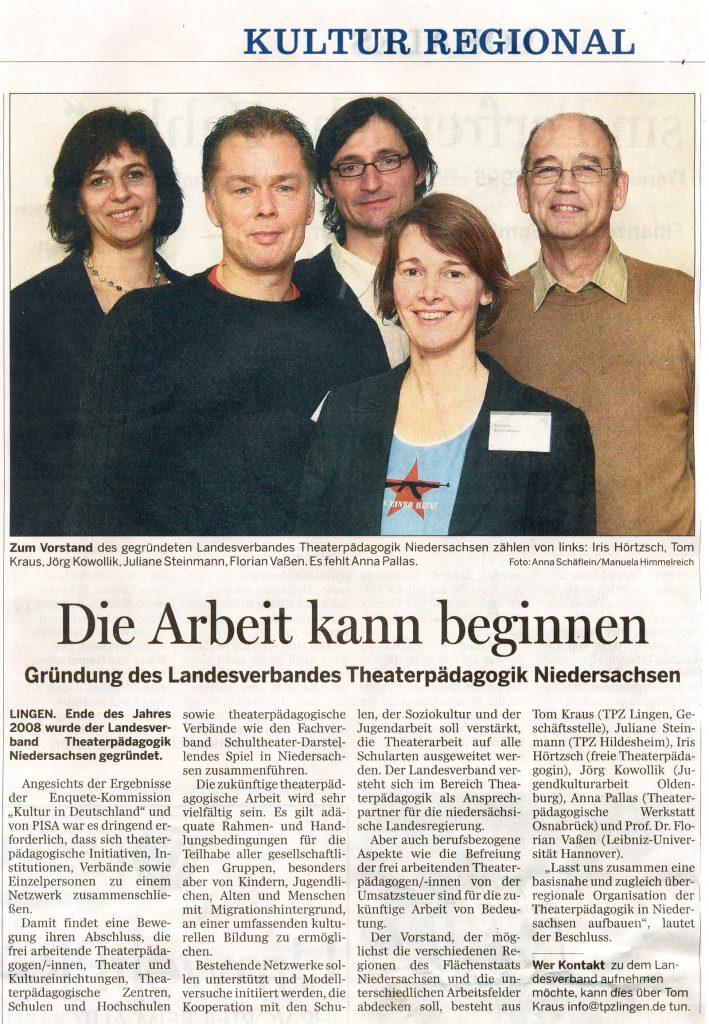 """Lat-Presse: """"Die Arbeits kann beginnen"""", Lingener Tagespost 2008"""